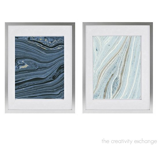 Tips for framing inexpensive dyed and marbleized paper and where to find gorgeous papers. The Creativity Exchange