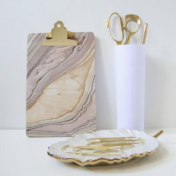 decoupage a clipboard with marble paper.