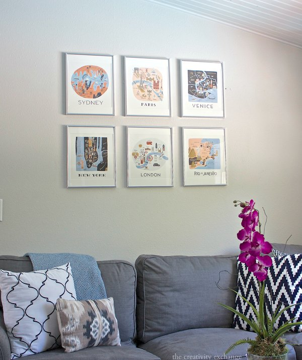 Create a gallery wall by using prints from calendars.