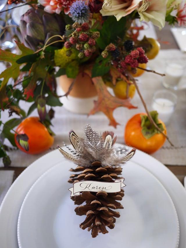 DIY Thanksgiving Pinecone Placecards