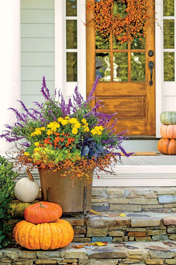 Fall color mix in container pot. via Southern Living