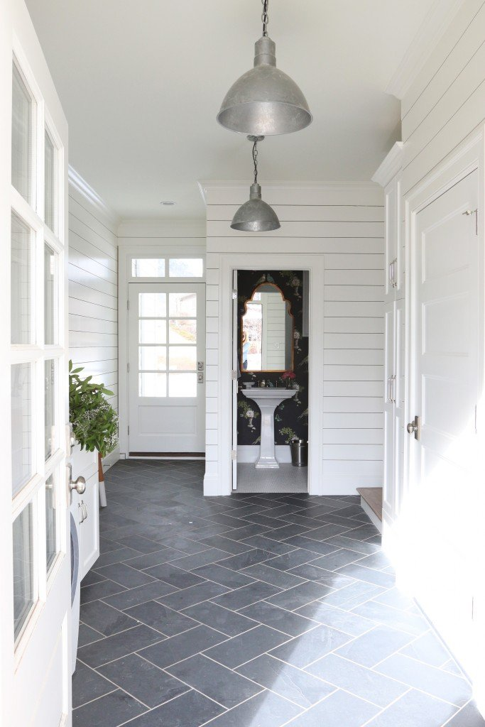Mudroom wall color is Simply White from Benjamin Moore. Studio Mcgee