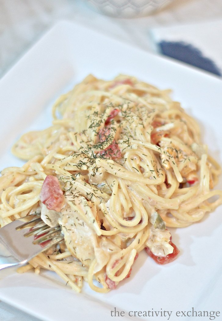 Slow Cooker Texas Chicken Spaghetti Recipe.