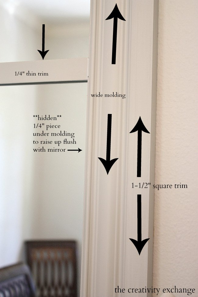 Use molding to add trim to mirrors.