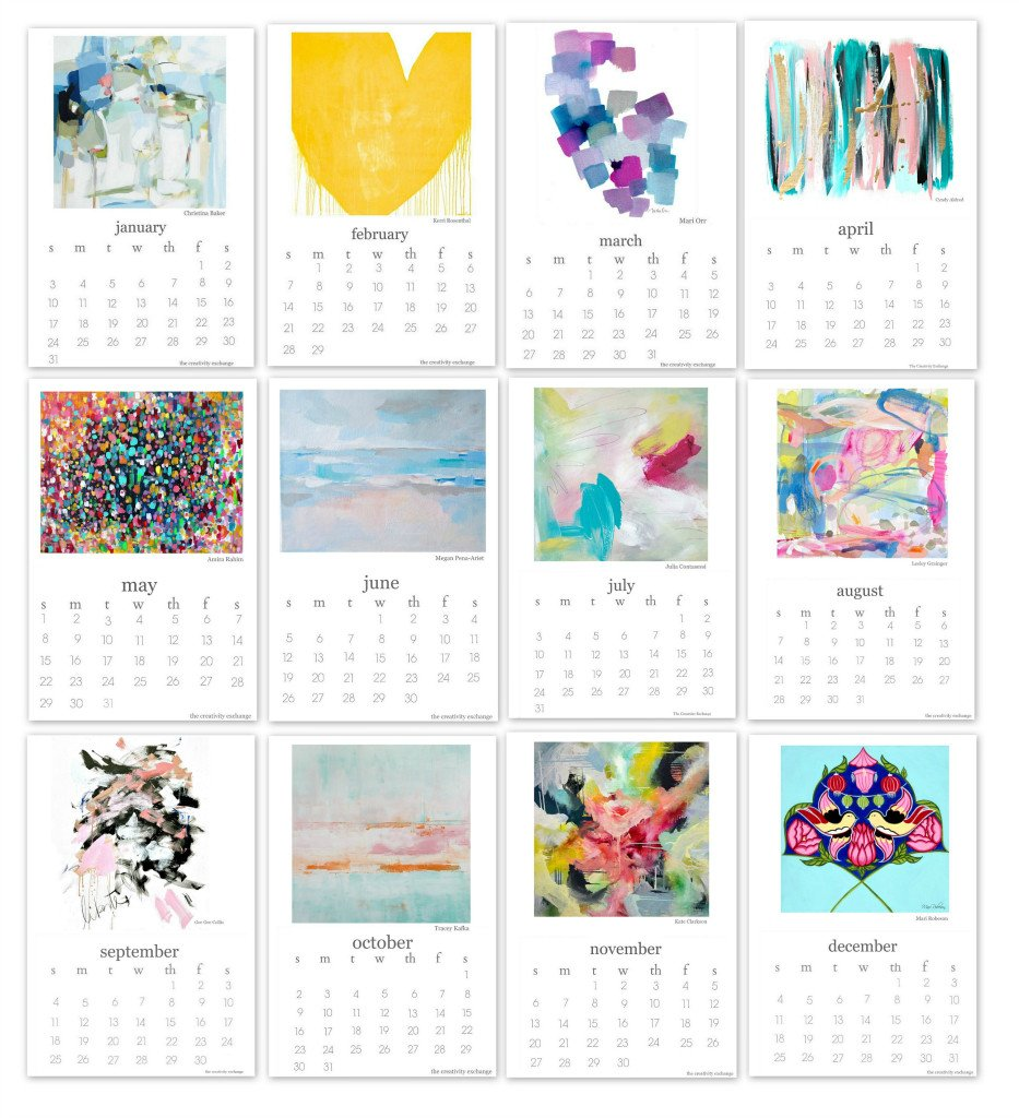 2016 Free printable calendar. Artist collaboration.