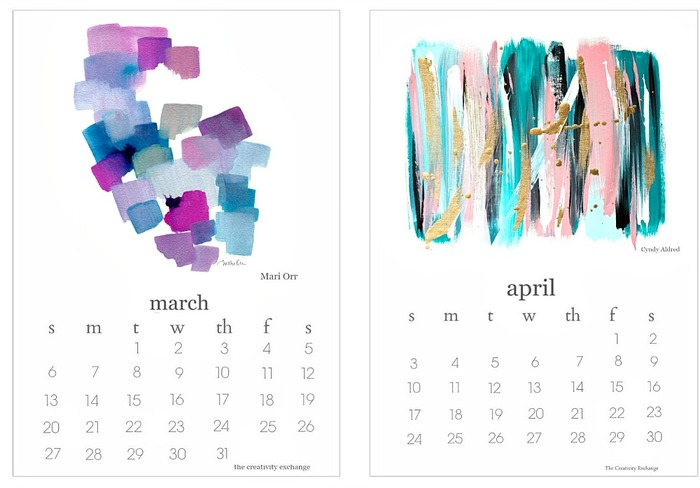 2016 Free Printable Artist Collaboration Calendar. March and April