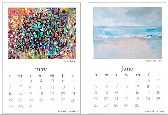 2016 Free Printable Calendar Artist Collaboration. May and June.