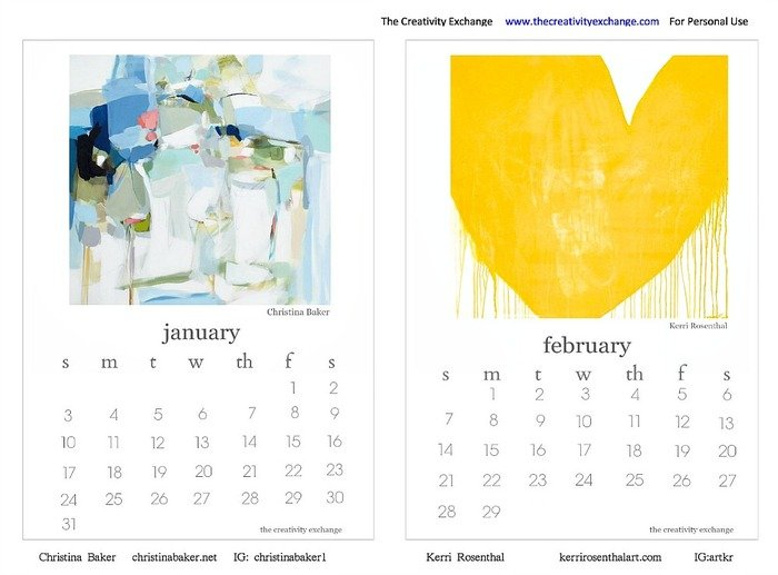 2016 Free Printable Calendar January and February