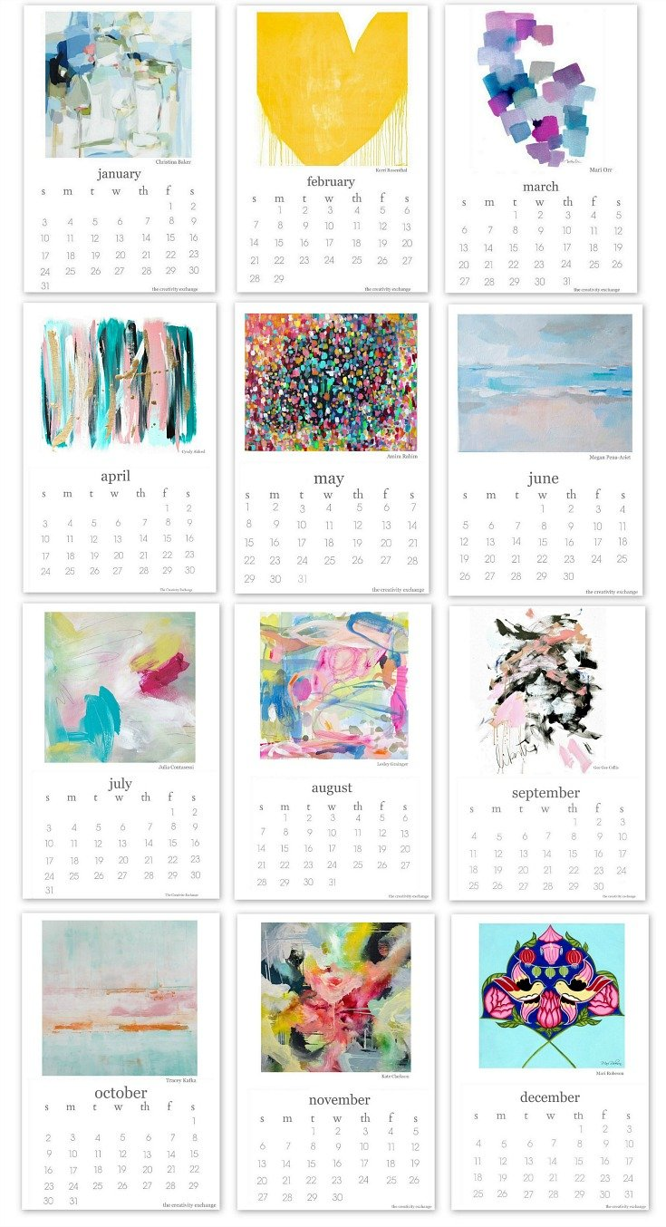 2016 Free Printable Calendar Created by 12 Different Artists.