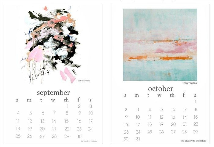 2016 Free Printable Calendars. Artist Collaboration Sept. and Oct.