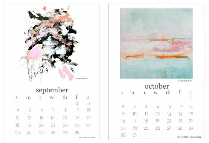 Calendar Art Project : Free printable calendar artist collaboration project