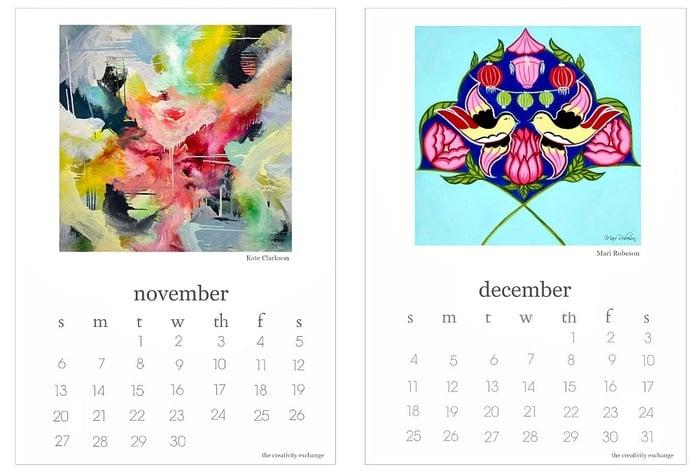 Calendar Artistic : Free printable calendar artist collaboration project
