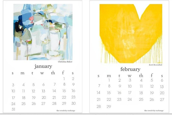 2016 Free Printable Desktop Calendar. January and February.