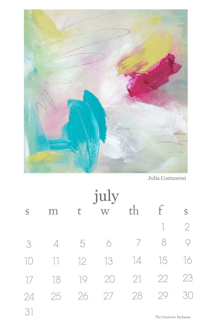 Free printable 2016 artist collaboration calendar. July is painted by Julia Contacessi