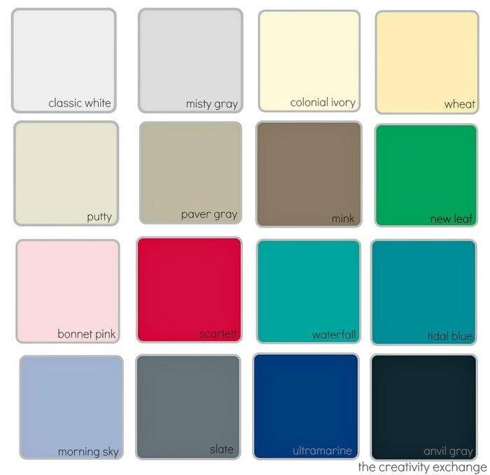 Color chart for the new Krylon chalk finish paint in a spray paint.