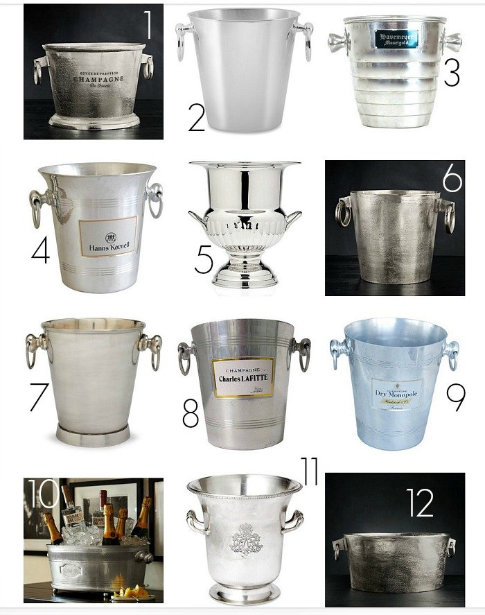 Creative ways to decorate with champagne buckets and where to find them.