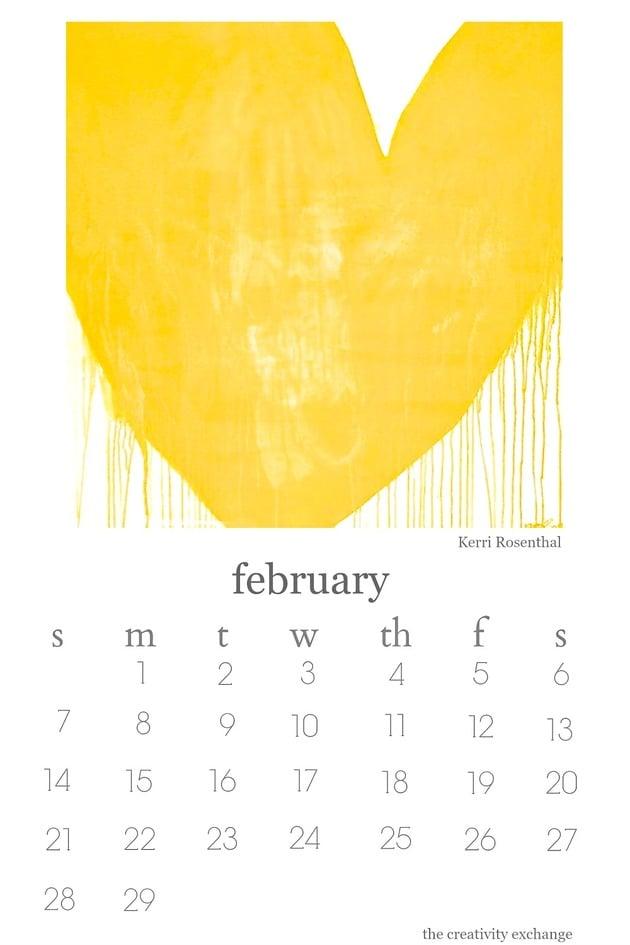 2016 Free printable artist collaboration desktop calendar. February features artist Kerri Rosenthal.