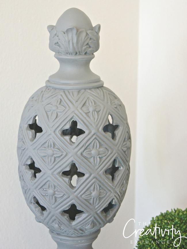 Finial painted with the new Krylon Chalk Paint Finish Spray Paint. Krylon Chalky Finish.