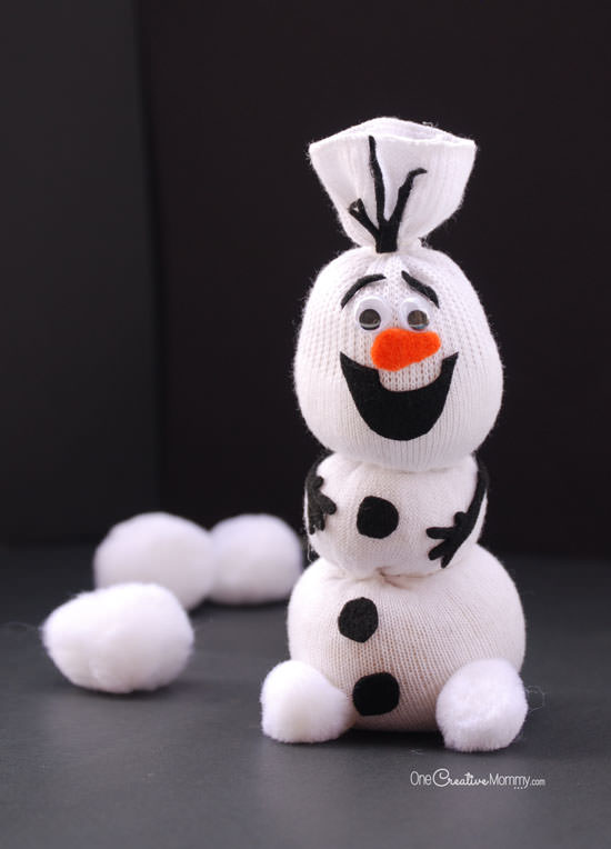 frozen sock snowman creative crafts and gifts to make