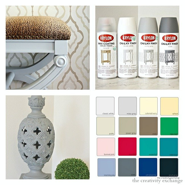 Krylon Chalk Paint Finish Spray Paint. Tips for how to use it and colors. Gorgeous Chalk finish.