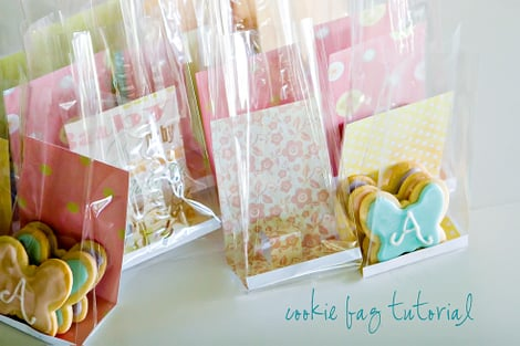 Put cardstock in cellophane treat bags for pretty packaging.