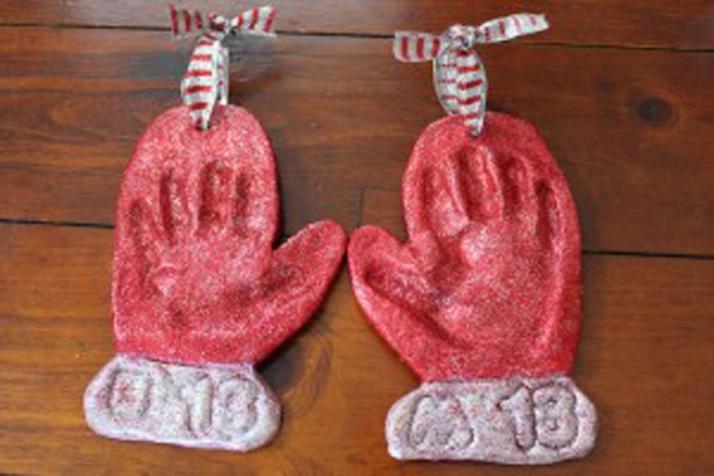 Salt dough handprint mitten ornaments