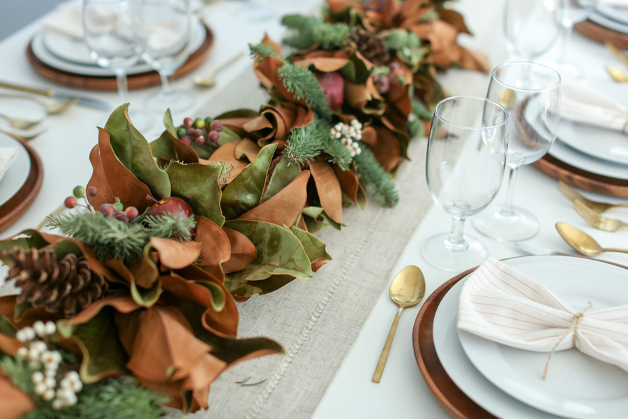 Beautiful Fresh Harry & David Holiday Garland used as a Table Runner.