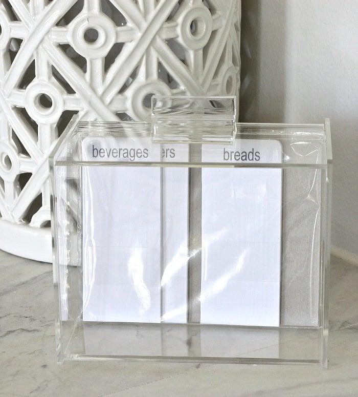 Clear acrylic recipe box from Amazon