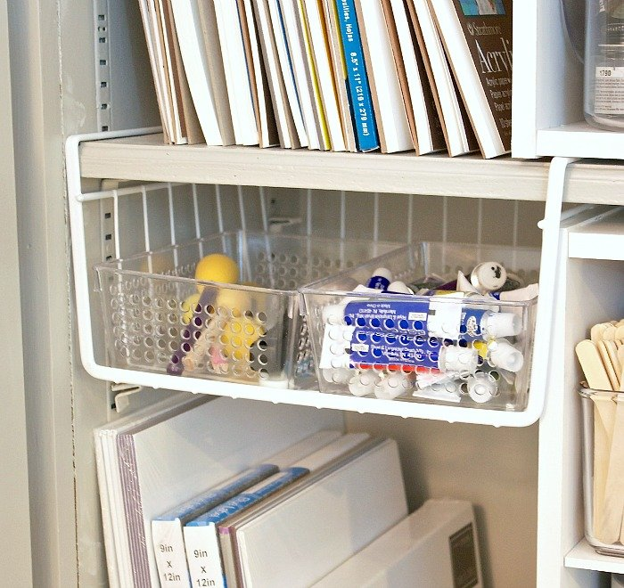 Creative craft supply and paint storage ideas.