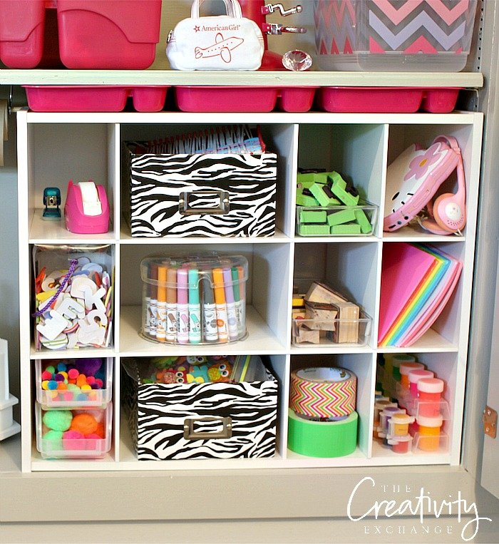 Creative ways to organize kids activities and craft supplies.
