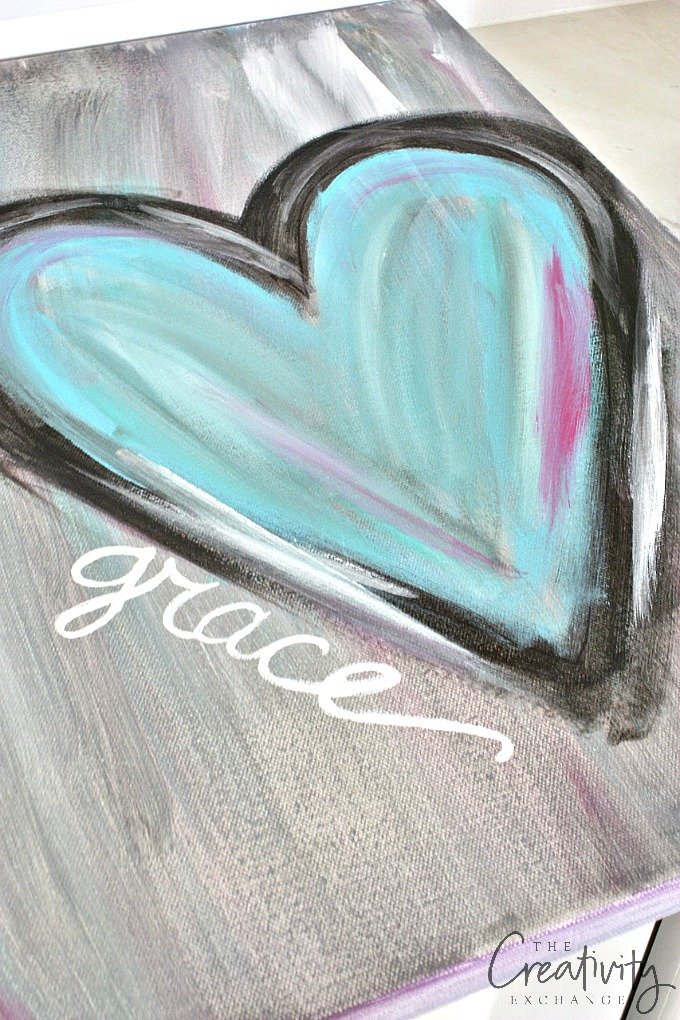 Diy abstract heart painting and a fun paint party for Small easy paintings
