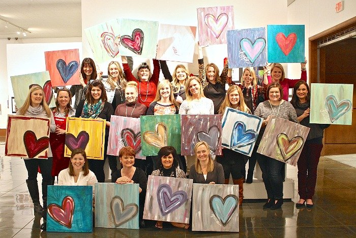 DIY Abstract Heart Painting and Paint Party Project.