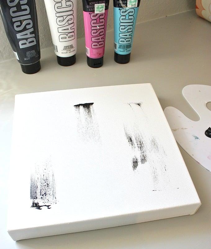 DIY heart acrylic painting tutorial. 10 x 10 canvas