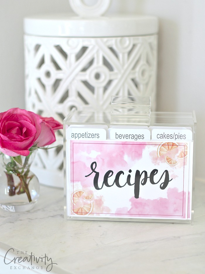 Free printable recipe cards and recipe art card for clear recipe boxes