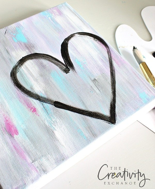 Tutorial for DIY Abstract Heart Painting canvas. The Creativity Exchange