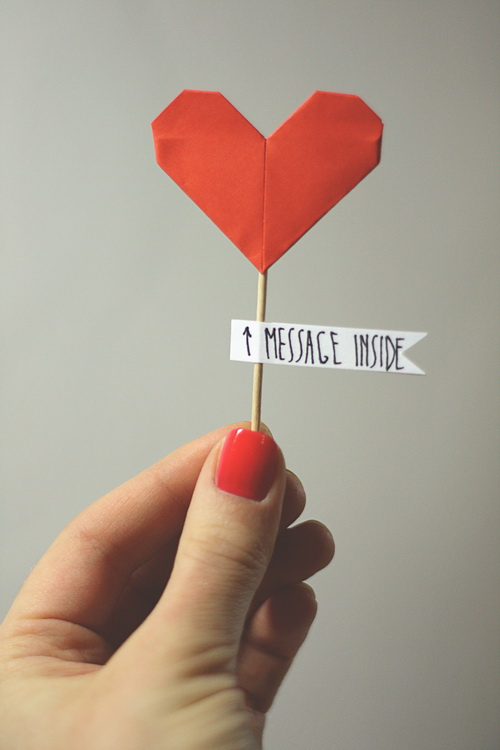 Origami Love Note Heart