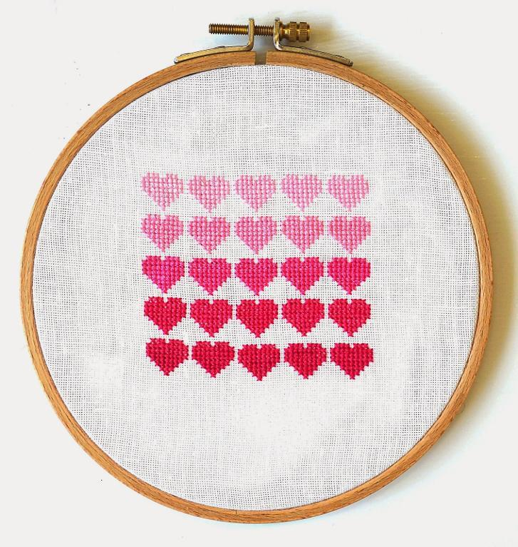 Pink Ombre Hearts Cross-Stitch