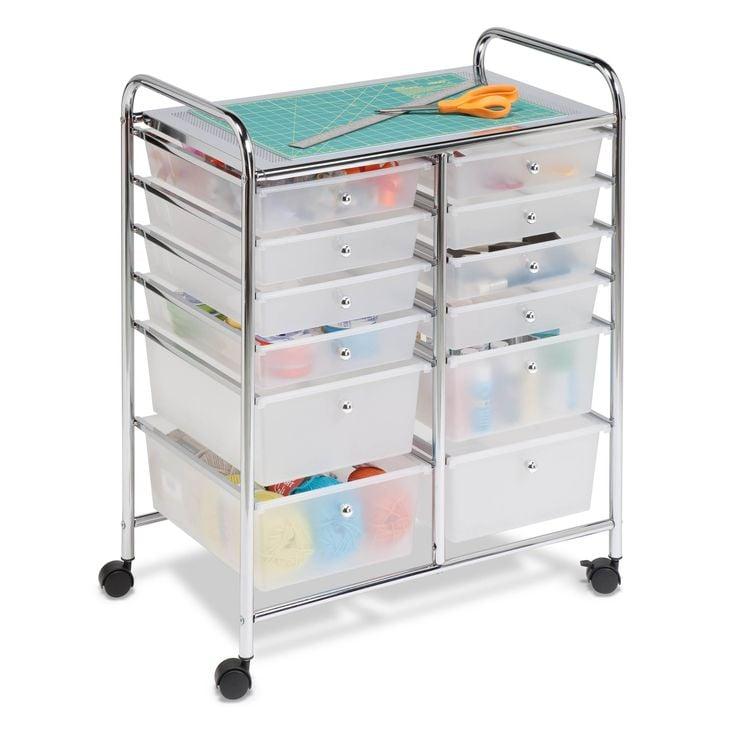 Rolling craft supply storage cart.