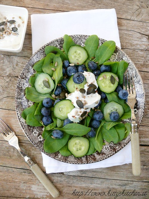 Spinach, Blueberry and Cucumber Salad with Yogurt Dressing