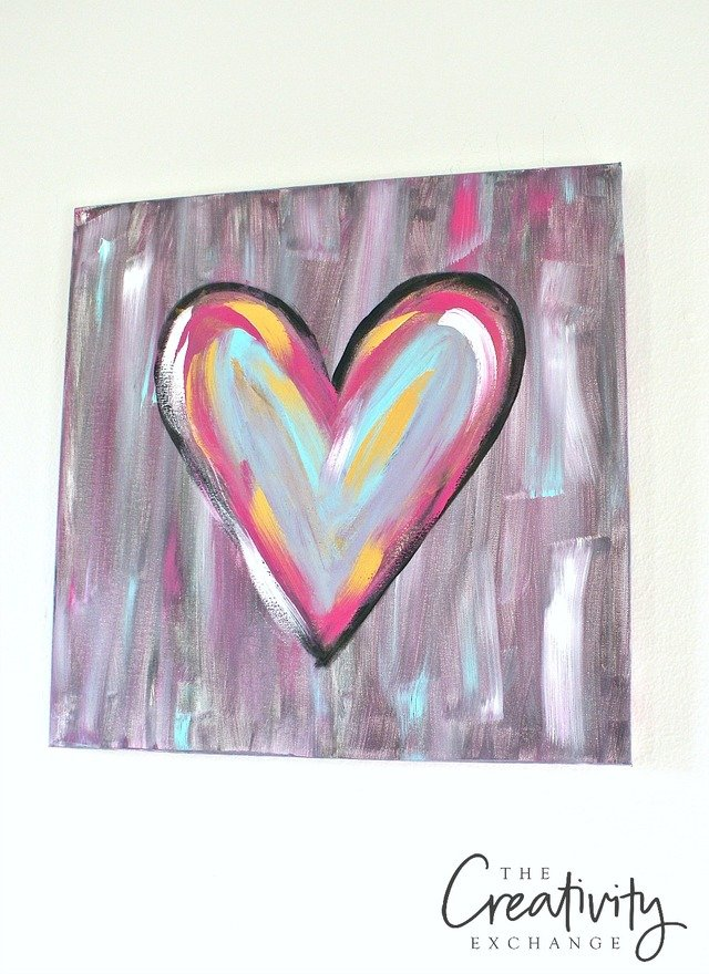 tutorial for diy abstract heart painting the creativity exchange - Fun Pictures To Paint