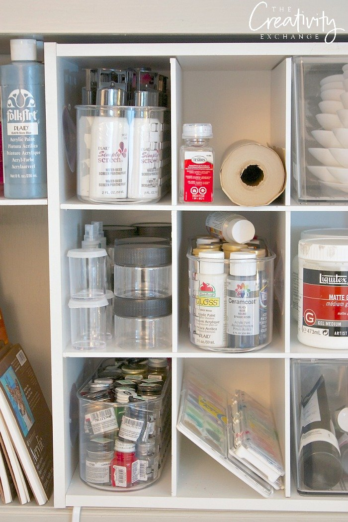 Ways to creatively organize craft supplies and paint.