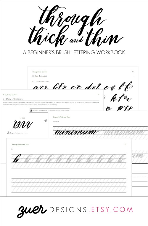 Workbook for learning how to hand brush letter.