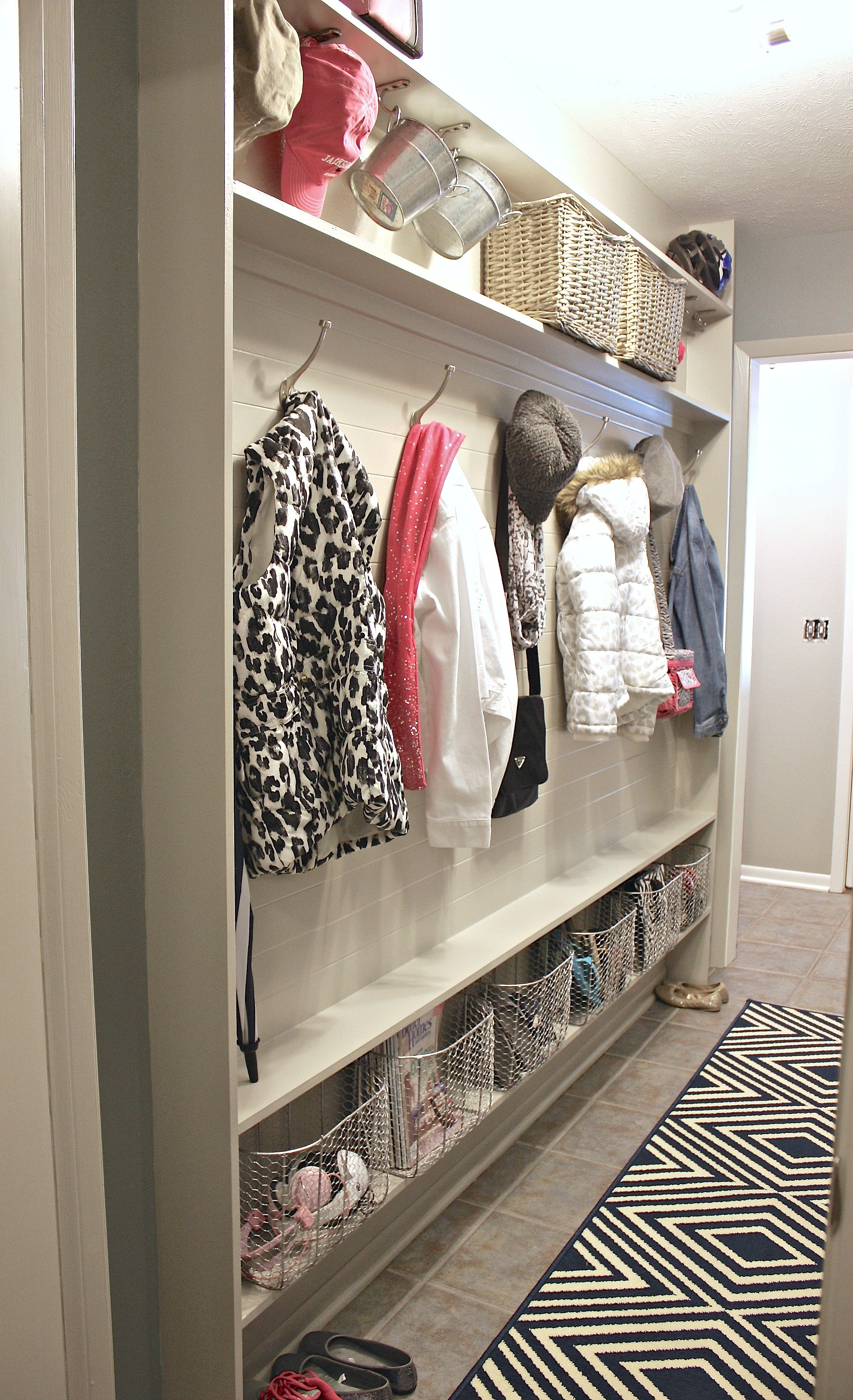 DIY narrow mudroom wall with only 5 inches of depth needed. Plan and details.