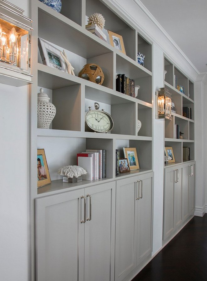 Bookshelves painted with Mindful Gray Benjamin Moore.