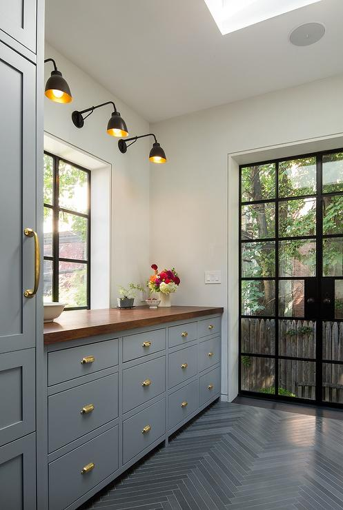 Beautiful Blue Laundry Room Cabinets