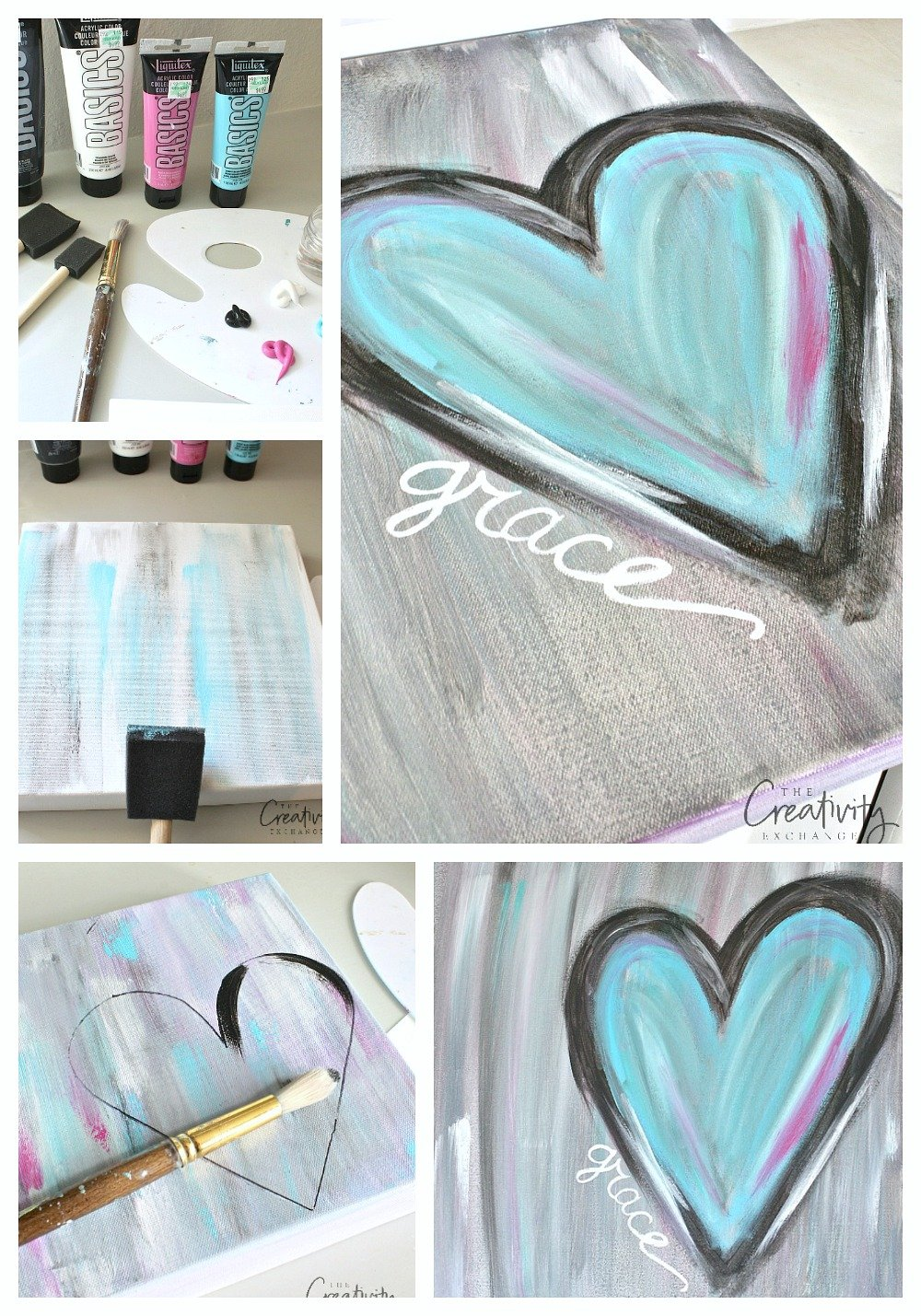 Tutorial for painting abstract heart canvas