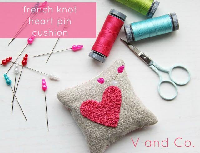 French knot pin cushion