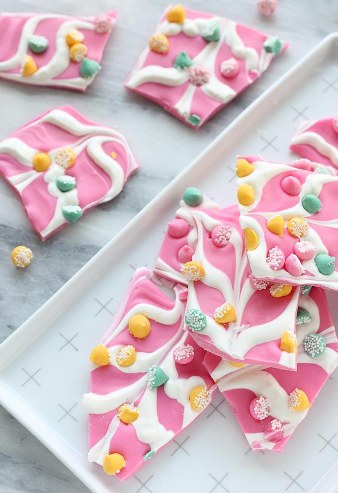 Pink Mint Chip Chocolate Bark