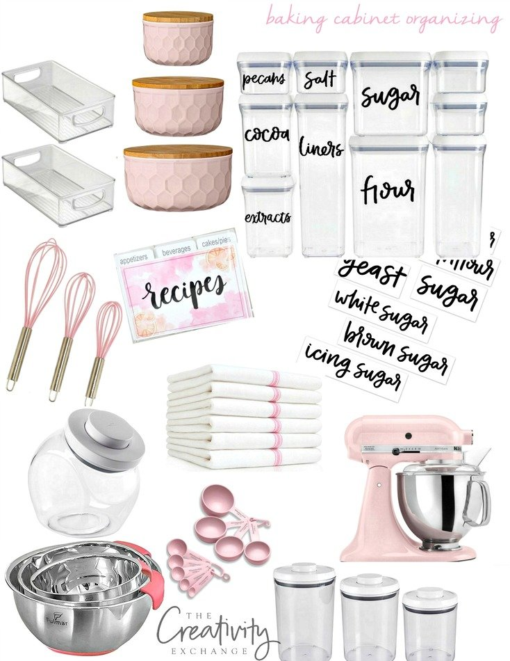 Baking cabinet organizing with free printable labels. The Creativity Exchange