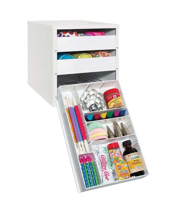 Baking organizer for sprinkles, frosting tops, extracts, etc..
